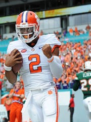 Clemson quarterback Kelly Bryant (2) reacts after scoring against Miami during the 4th quarter Saturday, Oct. 24, 2015, in Miami Gardens, Fla.