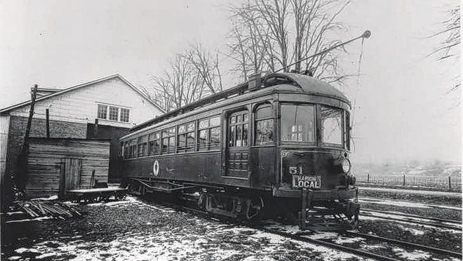 A Redbird car of the Columbus, Delaware and Marion Railway Co. sits at Stratford Barn in 1903.