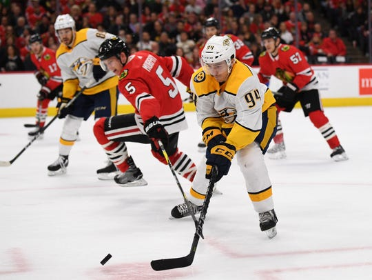 Predators defenseman Samuel Girard has played in four