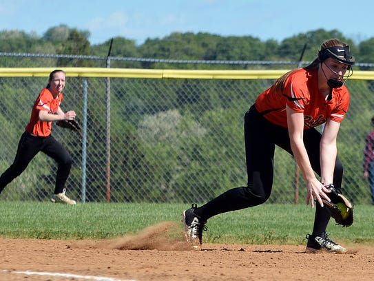 Northeastern shortstop Krista Anderson fields the ball against Dover last season. The Bobcats have yet to play a game yet this season.  John A. Pavoncello photo