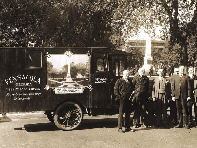 Promoters of Pensacola in Plaza Ferdinand.