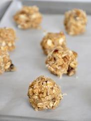 A tray of Cowboy Cookie dough balls wait to take a