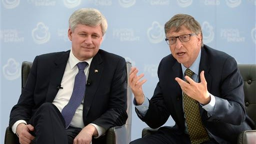 Canada Prime Minister Stephen Harper meets with Bill Gates in Ottawa on Wednesday, Feb. 25, 2015.  (AP Photo/The Canadian Press, Adrian Wyld)