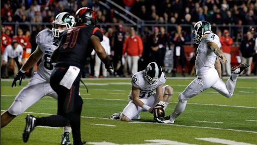 Rutgers recorded its first block of the season on a field-goal attempt by Michigan State's Michael Geiger.