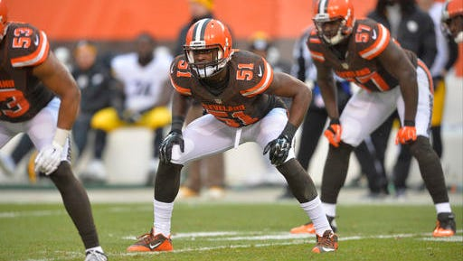 In this Jan. 3, 2016, file photo, Cleveland Browns outside linebacker Barkevious Mingo (51) lines up against the Pittsburgh Steelers during a kickoff of an NFL game, in Cleveland.