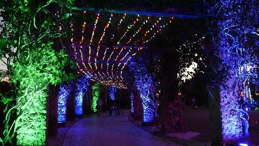 """Lights in the Garden"" at Naples Botanical Garden in East Naples."