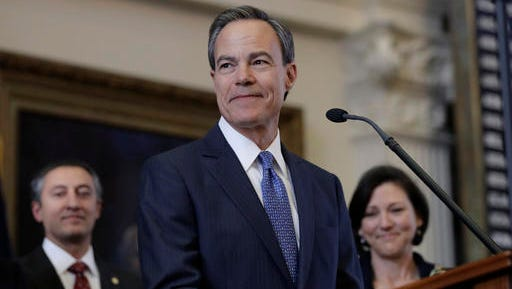 Texas Speaker of the House Joe Straus, R-San Antonio, stands before the opening of the 85th Texas Legislative session in the house chambers at the Texas State Capitol after he was re-elected for a fifth consecutive term, Tuesday, Jan. 10, 2017, in Austin, Texas.