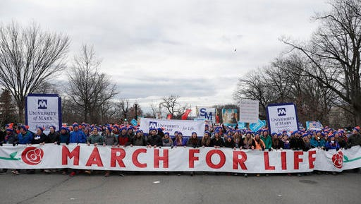 Anti-abortion activists march up Constitution Avenue en route to the Supreme Court in Washington, Friday, Jan. 27, 2017, during the 44th annual March For Life.