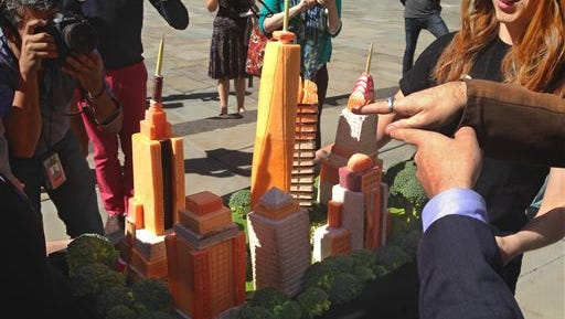 The New York skyline rendered in vegan-friendly vegetables attracts attention outside of New York's City Hall, where The People for the Ethical Treatment of Animals declared that New York is the nation's most vegan-friendly city today.  On hand for the City Hall presentation was the actor Alan Cumming who praised the city's commitment to vegan restaurants.