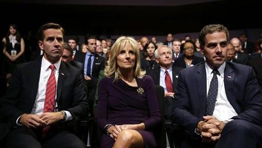Beau, Jill and Hunter Biden at the vice presidential debate in October 2012.
