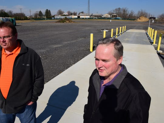 Chad Ebersole, left, public works operations supervisor, and David Finch, assistant borough manager, are at the new Chambersburg Green Yard Waste facility Wednesday, March 9, 2016. The yard is set to open on April 1 at Commerce Street, just off North Franklin Street.