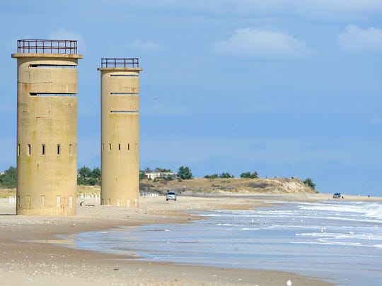 World War II sentry towers along the Delaware coast give beaches near Cape Henlopen a unique view.