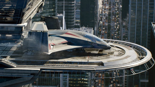 The Avengers' Quinjet in a scene from 'Avengers: Age Of Ultron.' The next film in the Marvel series is set to be made in Georgia, except Marvel is threatening to go elsewhere.
