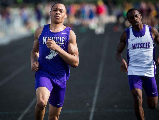 Central's Eliseus Young runs in the boys track sectional