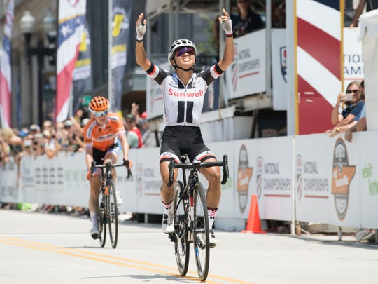 Coryn Rivera of Team Sunweb wins the women's 2018 USA Cycling Pro Road National Championships on Sunday.