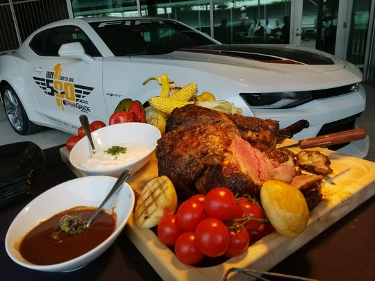 Slow-roasted sirloin with steak and horseradish sauces goes to the lucky few Indy 500 ticket holders with access to the new Hulman Club.