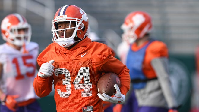 Clemson wide receiver Ray-Ray McCloud (34) returns a punt during Clemson's Sugar Bowl practice at Tulane University in New Orleans on Saturday, December 30, 2017.