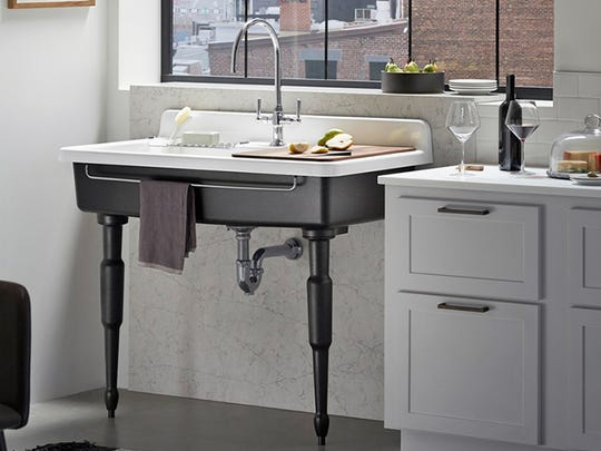Kohler's Farmstead sink makes a distinctive focal point for a traditional or transitional kitchen.