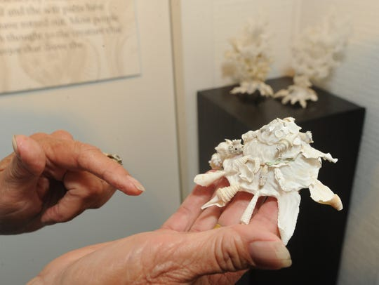 Catherine Wiggins holds a carrier shell, part of the