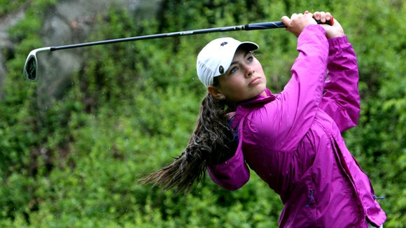 Amanda Tully of Carmel tees off on the 10th hole of the Section 1 girls golf tournament at Whippoorwill Club in Armonk May 24, 2016. Peter won the tournament.