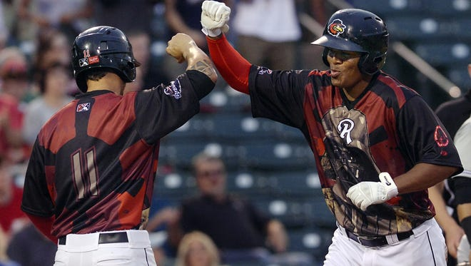 Reynaldo Rodriguez celebrates his home run last summer on Star Wars night. The reigning Rochester Red Wings MVP has been suspended 80 games after testing positive for steroids.