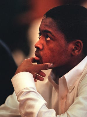 "Calvin Wilson listens as the guilty verdict is read in his trial for the murder of Samaan ""Simon"" Samara Ingham County Circuit Court in Mason Friday, April 3, 1998. Wilson was found guilty of felony murder. He was resented Wednesday, March 21, 2018 to 27 to 60 years in prison."