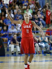 Elena Delle Donne drops back on defense in the second half of an exhibition game between the France and USA women's basketball teams at the Bob Carpenter Center Wednesday.