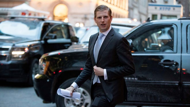 Eric Trump, son of President-elect Donald Trump departs from Trump Tower in New York.