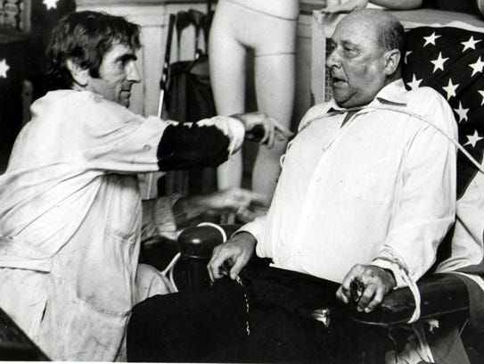 Harry Dean Stanton, left, and Donald Pleasence in 1981's