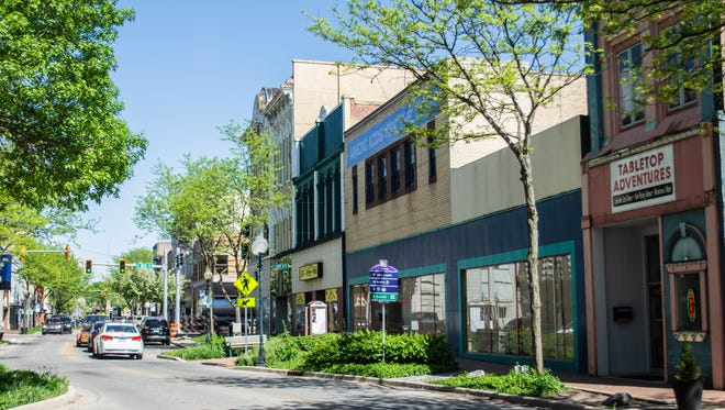 Storefronts in the 800 block of East Main Street, including Tabletop Adventures, the former Veach's store and RT's Hobby Haus, in downtown Richmond are seen Tuesday, May 8, 2018.