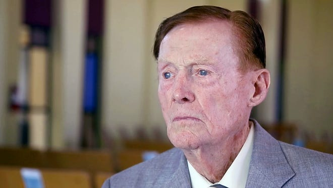 Jack Holder, a WWII veteran who survived Pearl Harbor and battles over Midway and the English Channel, lost $43,000 in a fraud scheme. Holder spoke at Cross Roads United Methodist Church in Phoenix about his war experiences on May 20, 2016.