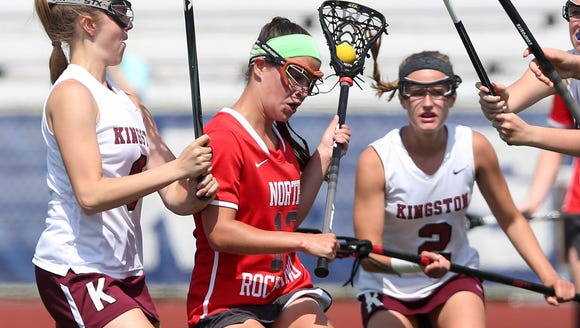 North Rockland's Kerri Gutenberger (13) drives to the