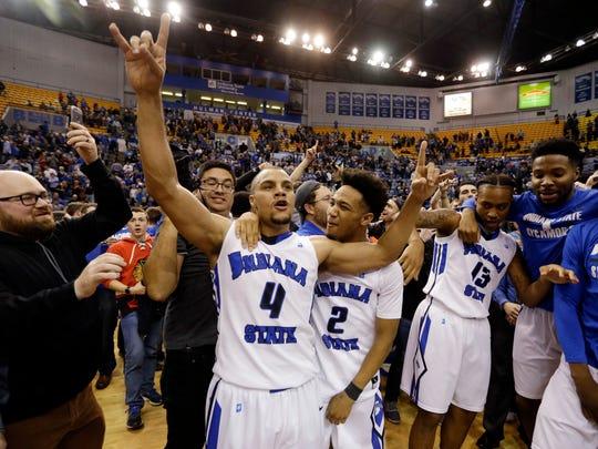 Indiana State guard Brenton Scott (4) celebrates a