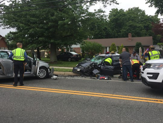 Three people were reported injured in two-vehicle crash