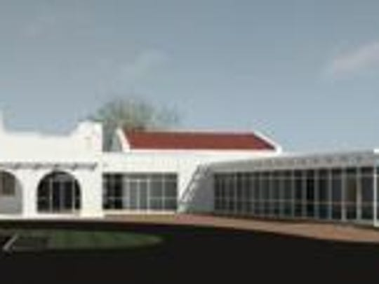 Rendering of renovations to existing railway station and a new addition for the Southwest Florida Community Foundation.