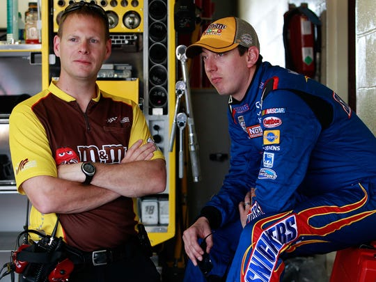 Dave Rogers, left, moves over from Kyle Busch, right, and the No. 18 Toyota to join Denny Hamlin in 2015.
