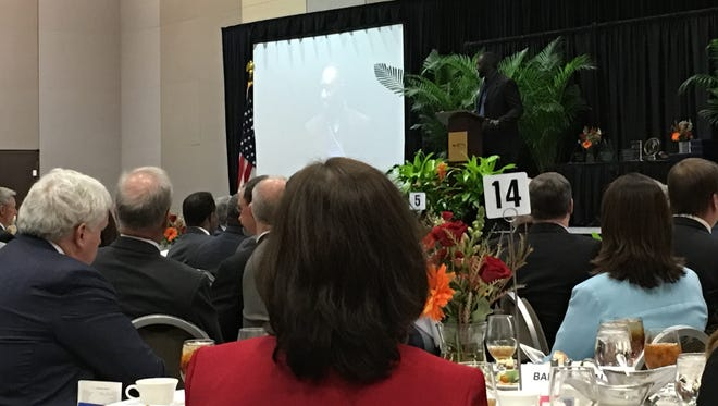 Jackson Mayor Tony Yarber speaks at the Greater Jackson Chamber Partnership's annual meeting on Wednesday, Jan. 27, 2016.