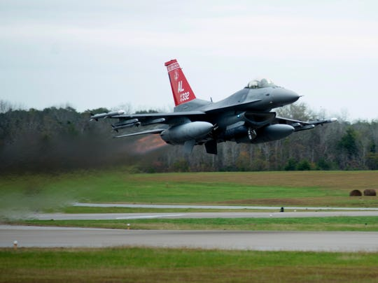 F-16 Fighter from the 187th Fighter Wing takes off