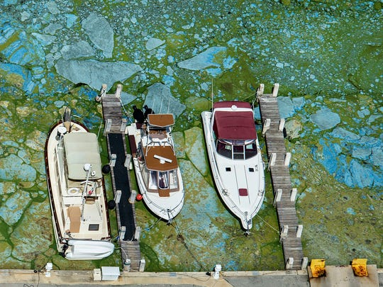 Boats docked at Central Marine in Stuart, Fla., are surrounded by blue green algae, Wednesday, June 29, 2016. Officials want federal action along the stretch of Florida's Atlantic coast where the governor has declared a state of emergency over algae blooms. The Martin County Commission is inviting the president to view deteriorating water conditions that local officials blame on freshwater being released from the lake, according to a statement released Wednesday. (Greg Lovett/The Palm Beach Post via AP)