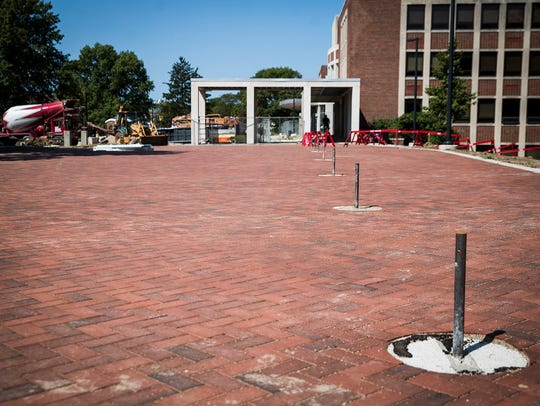New walkways and parking areas outside of Emens Auditorium.