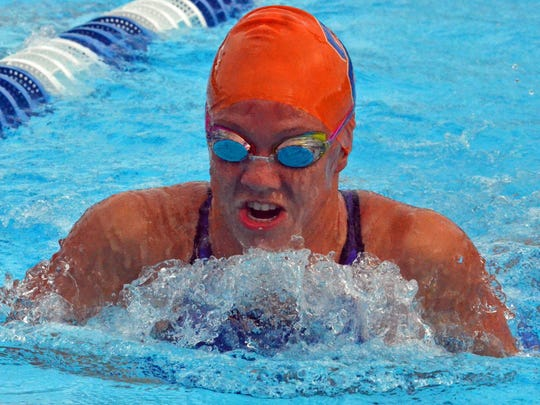 Cape Coral sophomore Chrstina Walch crusies the water during the breaststroke leg of the 200 medley relay during the FHSAA Class 2A state finals at Sailfish Splashpark Aquatic Center in Stuart.