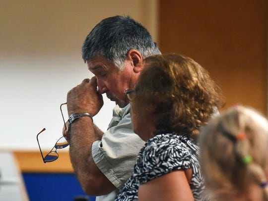 """He's going to die with this evil with him,"" said George Halstead Jr. of convicted child killer Brooks Bellay Friday, Nov. 17, 2017, after Bellay's re-sentencing to life in prison at the Martin County Courthouse in downtown Stuart. Bellay pleaded guilty to second-degree murder for the 1979 Vero Beach murder of 4-year-old Angel Halstead and was sentenced to life, but changes in juvenile sentencing laws made him eligible for a sentencing do-over."