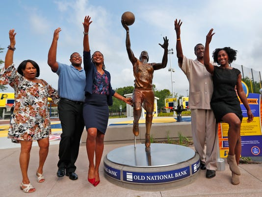 12 bronze statues representing 16 athletes were unveiled at the Children's Museum of Indianapolis.
