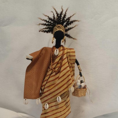 Michelle Sapp will show her African-inspired dolls at the Lathrup Village Holiday Market, Nov. 28.