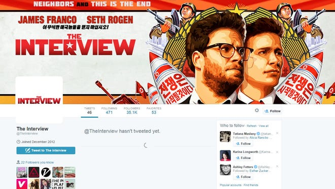 The Twitter and Facebook accounts for 'The Interview' have been cleaned out.