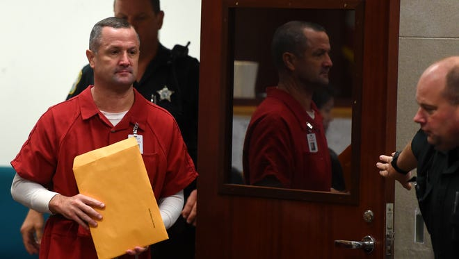 Mark Deffendall enters courtroom 4 at the Indian River County Courthouse on Friday, June 22, 2018, after being granted a second chance to apply Florida's Stand Your Ground statute in the October 2014 shooting death of his brother, Eric Deffendall. Mark Deffendall's original request to have the Stand Your Ground statute applied was denied by Circuit Judge Cynthia L. Cox.