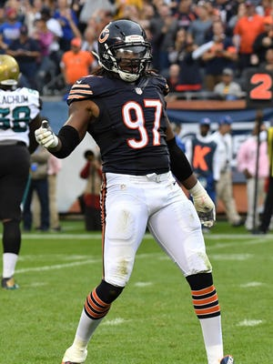 Chicago Bears linebacker Willie Young celebrates during a game against the Jacksonville Jaguars on Oct. 16, 2016.