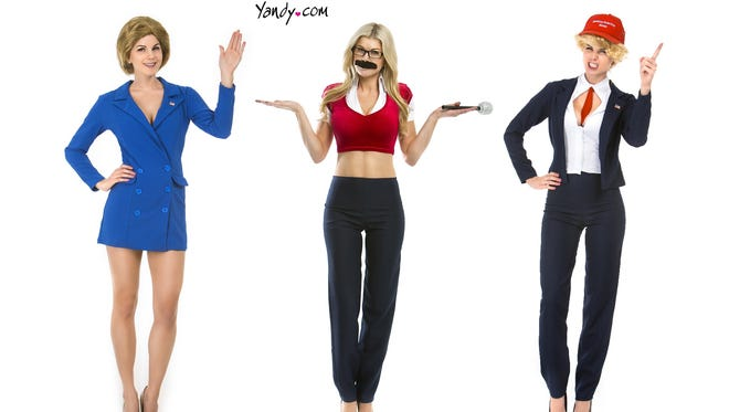 """The """"Capitol Hill,"""" """"Sexy Undecided Voter"""" and """"Donna T. 2.0"""" costumes on Yandy.com."""