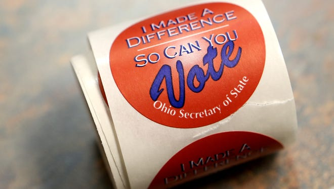 Stickers that were  given to  Ohio voters at the Springdale Recreation Center on Nov. 4 2014.
