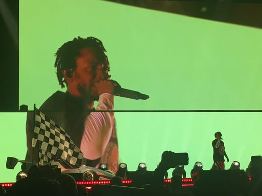 Kendrick Lamar performs at Ak-Chin Pavilion in Phoenix on Monday, May 14, 2018.